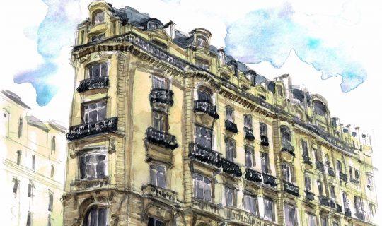 Aquarelle pour Gedimat Architectures de France - Haussman