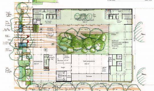 Plan croquis jardi atrium