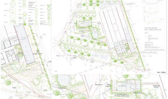 Plans et coupes de principe d'aménagement - fond de plan