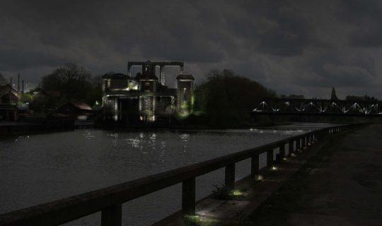 Simulation éclairage nocturne ascenseur à bateau